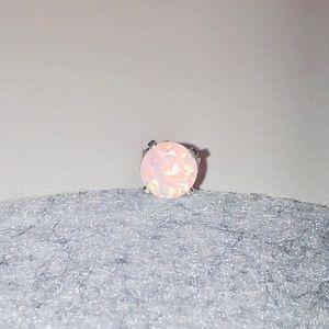 Firey milky white opal stud earring